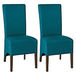 Debenhams - Pair of teal blue 'Nina' wing back upholstered dining chairs with dark wood legs
