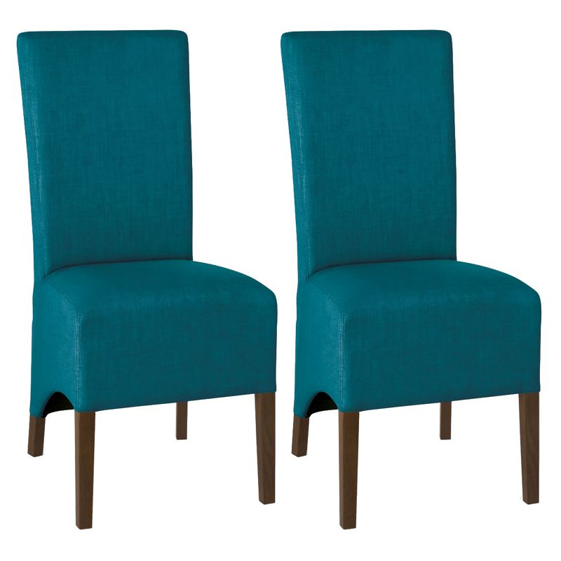 Debenhams Pair of teal blue 'Nina' wing back upholstered dining chairs with dark wood legs