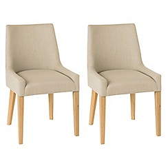 Debenhams - Pair of stone beige 'Ella' upholstered tub dining chairs with light oak legs