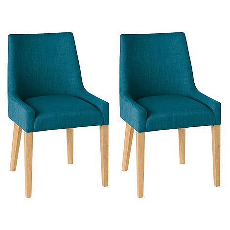 Debenhams Pair Of Teal Blue 39 Ella 39 Upholstered Tub Dining Chairs With