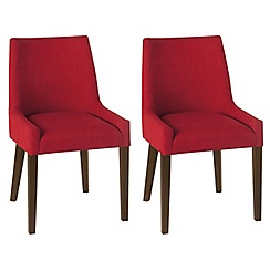 Debenhams - Pair of red 'Ella' upholstered tub dining chairs with dark wood legs