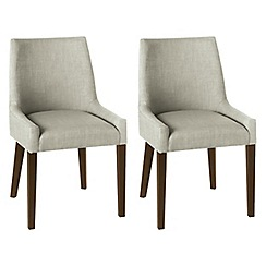 Debenhams - Pair of linen beige 'Ella' upholstered tub dining chairs with dark wood legs