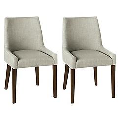 Debenhams - Pair of linen beige 'Ella' upholstered tub dining chairs with dark wood legs