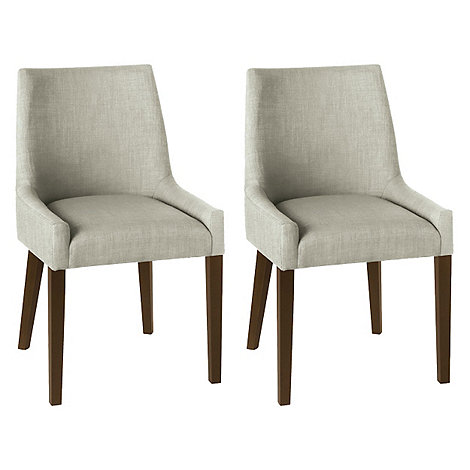 Debenhams pair of linen beige 39 ella 39 upholstered tub for Leather bucket dining chairs