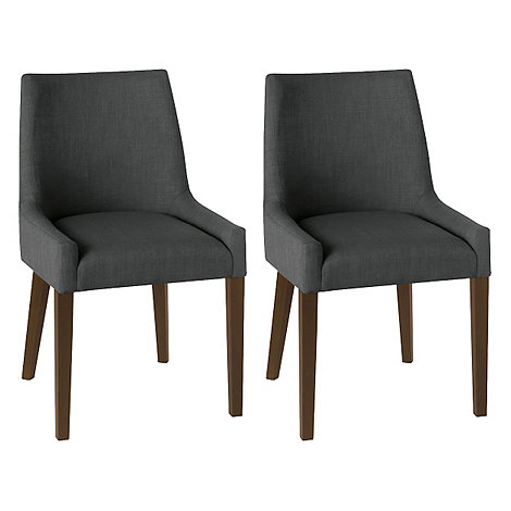 Debenhams Pair Of Charcoal Grey Ella Upholstered Tub Dining Chairs With Dark Wood Legs