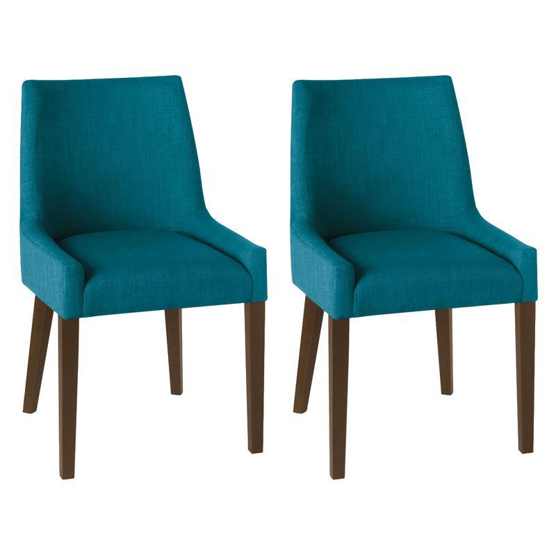Debenhams Pair of teal blue 'Ella' upholstered tub dining chairs with dark wood legs