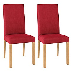 Debenhams - Pair of red 'Parker' square back upholstered dining chairs with light oak legs