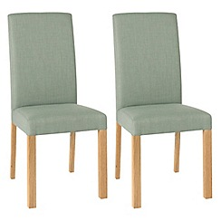 Debenhams - Pair of duck egg blue 'Parker' square back upholstered dining chairs with light oak legs