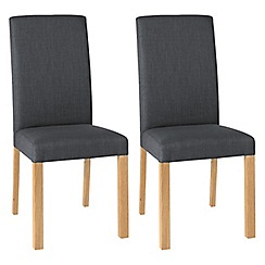 Debenhams - Pair of steel grey 'Parker' square back upholstered dining chairs with light oak legs