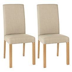 Debenhams - Pair of stone beige 'Parker' square back upholstered dining chairs with light oak legs