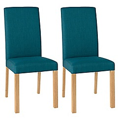 Debenhams - Pair of teal blue 'Parker' square back upholstered dining chairs with light oak legs