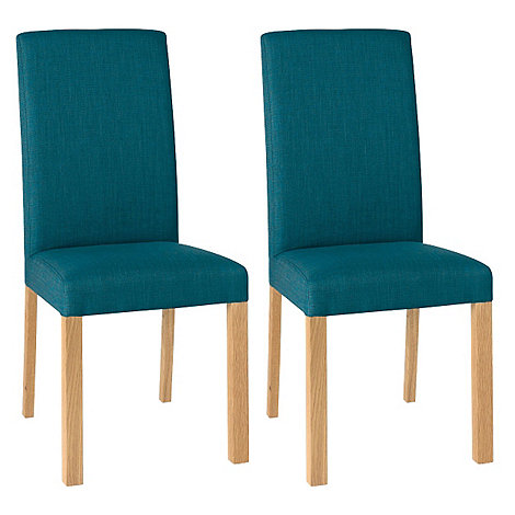 Debenhams Pair Of Teal Blue 39 Parker 39 Square Back Upholstered Dining C