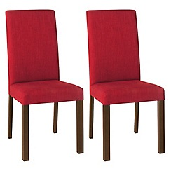 Debenhams - Pair of red 'Parker' square back upholstered dining chairs with dark wood legs