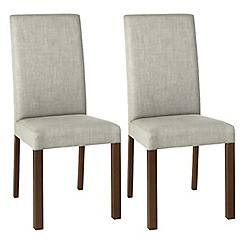Debenhams - Pair of linen beige 'Parker' square back upholstered dining chairs with dark wood legs