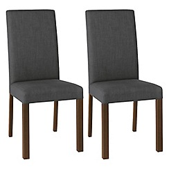 Debenhams - Pair of charcoal grey 'Parker' square back upholstered dining chairs with dark wood legs