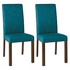 Debenhams - Pair of teal blue 'Parker' square back upholstered dining chairs with dark wood legs
