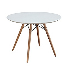 Debenhams - White 'Lucca' round fixed-top table