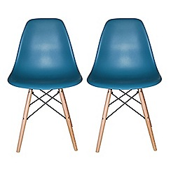 Debenhams - Pair of teal blue 'Avignon' chairs