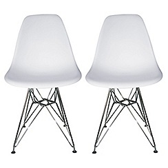 Debenhams - Pair of white 'Marseilles' chairs