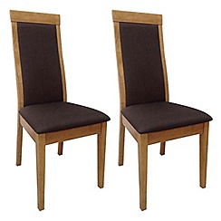 Debenhams - Pair of brown 'Cheshire' dining chairs