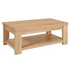 Debenhams - Washed white oak effect 'Cleves' coffee table with storage compartment