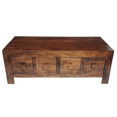 debenhams mango wood coffee table with 8 drawers at