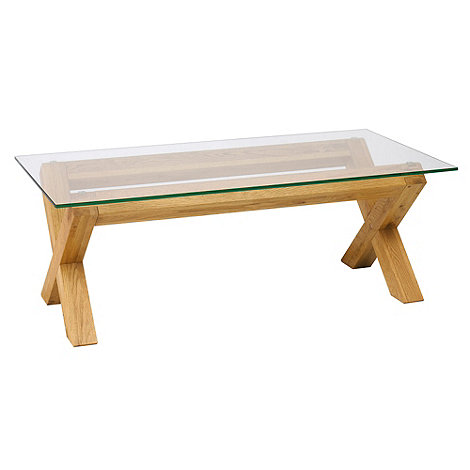 Debenhams oak and glass 39 newport x leg 39 coffee table at Light oak coffee tables
