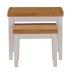 Debenhams - Oak and white 'Fenton' nest of 2 tables