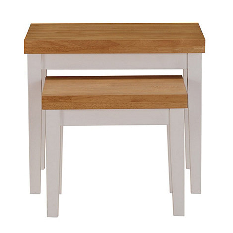 Debenhams - Oak and white +Fenton+ nest of 2 tables