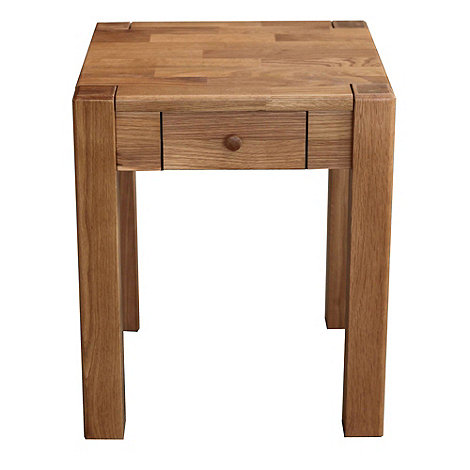 Debenhams - Oak +Ontario+ side table with single drawer