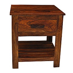 Debenhams - Sheesham wood 'Goa' side table with single drawer