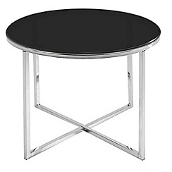 Debenhams - Black glass 'Vancouver' round side table