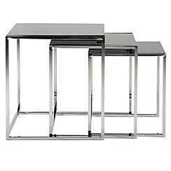 Debenhams - Black glass 'Vancouver' nest of 3 tables