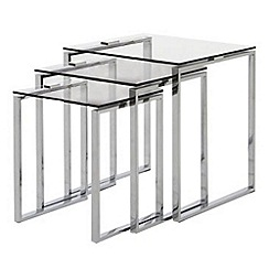 Debenhams - Chrome and glass 'Alberta' nest of 3 tables