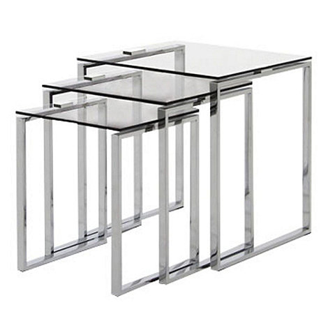 Debenhams Chrome And Glass Alberta Nest Of 3 Tables
