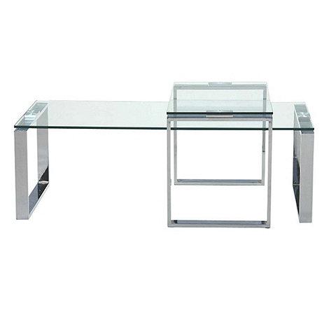 debenhams chrome and glass 'alberta' coffee and side table set