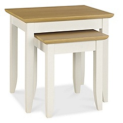 Debenhams - Oak and painted 'Burton' nest of 2 tables