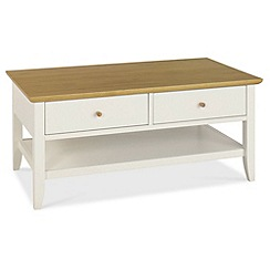 Debenhams - Oak and painted 'Burton' coffee table with 2 drawers