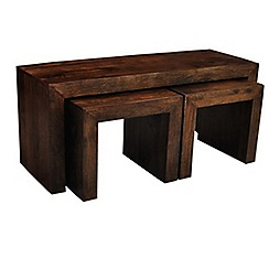 Debenhams - Mango wood nest of 3 coffee tables
