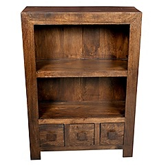 Debenhams - Mango wood small bookcase with 3 drawers