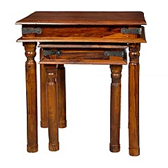 Debenhams - Sheesham wood 'Maharaja' nest of 2 tables