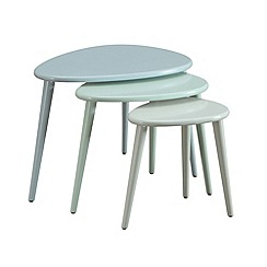 Debenhams - Green and blue 'Pebbles' nest of 3 tables