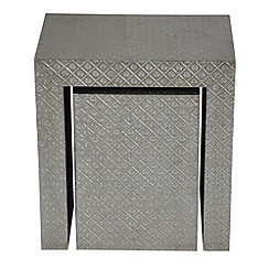 Debenhams - Embossed metal 'Odisha' nest of 2 tables