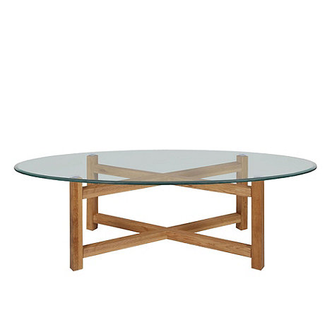 Debenhams oak and glass 39 tokyo 39 coffee table debenhams for Tables basses rondes en bois
