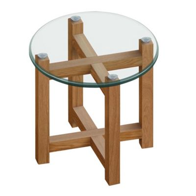 debenhams oak and glass side table