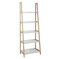 Debenhams - Bamboo and white 'Westwood' tall open shelving unit