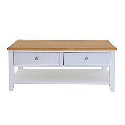 Debenhams - Oak effect and white 'Georgia' coffee table with 2 drawers