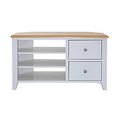 Debenhams - Oak effect and white 'Georgia' corner TV unit