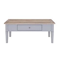 Debenhams - Oak effect and grey 'Rustic' coffee table with single drawer