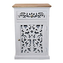 Debenhams - Mango wood and cream painted 'Freya' small cupboard